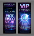 set of disco background banners hot disco night vector image