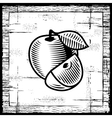 Retro apple black and white vector image vector image