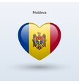 Love Moldova symbol Heart flag icon vector image