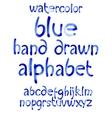 Watercolor hand written blue alphabet vector image