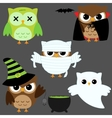halloween owls vector image