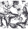 seamless pattern with butterflies black and white vector image