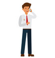 businessman talking on mobile phone cartoon flat vector image