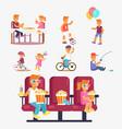 entertaining children in cinema riding bike etc vector image