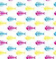 fishbone seamless patternskeleton of fish vector image