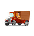 happy driver rides on retro truck delivery vector image