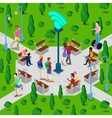 Isometric City Park with Wi-Fi Hotspot vector image