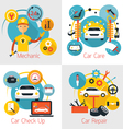 Mechanic and Car Maintenance Service Concept Set vector image