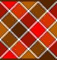red orange color diagonal check plaid seamless vector image