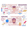 thin line flat design education and explore vector image
