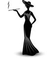 retro silhouette elegant smoking woman vector image