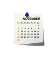 2014 paper calendar for November vector image