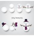 white winter happy snowman building eps10 vector image