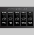 Dark pricing tables - black and silver design vector image