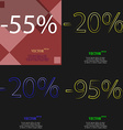20 95 icon Set of percent discount on abstract vector image