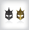 Medieval black and gold warrior helmet vector image