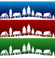Christmas village with snow seamless pattern vector image