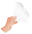 Hand with Piece of Paper vector image