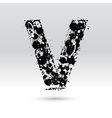 Letter V formed by inkblots vector image