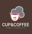 line drawing of cup of coffee with smile vector image