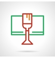 Red wine glass simple color line icon vector image