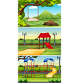 Three scenes of park and playground vector image