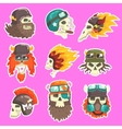 Colorful Scull Stickers With War And Biker Culture vector image