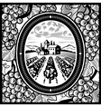 Vineyard black and white vector image vector image