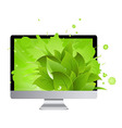 Icon Of Monitor With Leaves vector image vector image