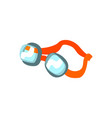 cartoon swimming goggles with orange clasp vector image