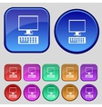 Computer monitor and keyboard Icon Set colourful vector image