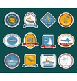 Cruise travel agency stickers set vector image