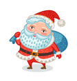 cute santa claus with full bag of gifts christmas vector image