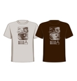 Design t-shirts with vintage printing sun moon and vector image