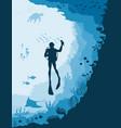 diver with underwater wildlife jellyfish fish vector image