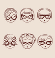 fashion girls in glasses icon set hand drawn eps vector image