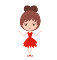 girly fairy without wings and brown collected hair vector image