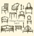 hand drawn vintage furniture set vector image