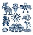 maya or inca blue totem icons vector image