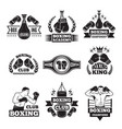 monochrome labels set for boxing championship vector image