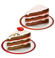 Piece of delicious cake with strawberry on top vector image