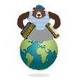 Russian Bear Patriot plays harmonica Wild animal vector image
