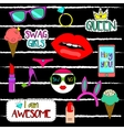 Trendy fashionable pins patches stickers vector image