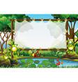Frame design with frogs in the pond vector image vector image