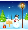 Snowman under Lamp post vector image vector image