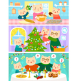 cats family on christmas vector image vector image