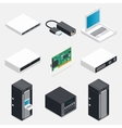 Networking isometric detailed icons set vector image
