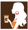 Beautiful silhouette woman holding coffee vector image