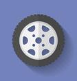 Car wheel icon Flat style vector image