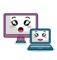 cartoon laptop and monitor technology digital vector image